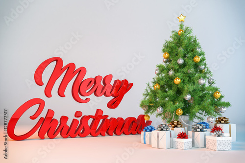 dekorierter christbaum weihnachtsbaum mit geschenken und. Black Bedroom Furniture Sets. Home Design Ideas