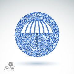 Beautiful flower-patterned umbrella. Stylized accessory, vector