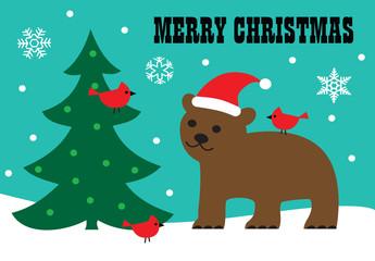 merry christmas bear and tree