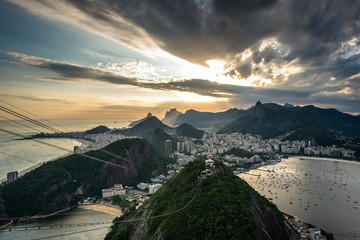 Dramatic sunset in Rio de Janeiro view from the Sugarloaf Mountain