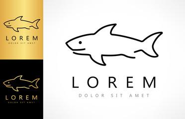 Shark logo. Shark Linear Logo design vector.