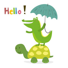 funny turtle print in cartoon style