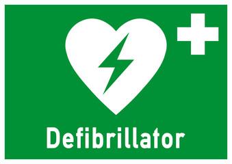 nrs9 NewRescueSign nrs - ks150 Kombi-Schild - Defibrillator - Rettungszeichen grün - DIN A1 A2 A3 A4 Poster Querformat XXL - g4787
