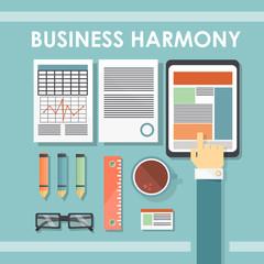 business harmony. flat illustration