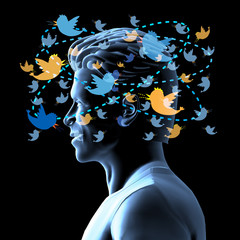 Man in Twitter Social Networking Headspace