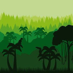 jungle landscape with palms and birds. colorful design. brazilian culture concept. vector illustration
