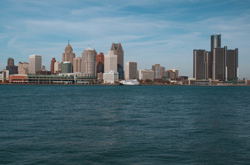 City of Detroit Skyline Shot From Canada, November 2016