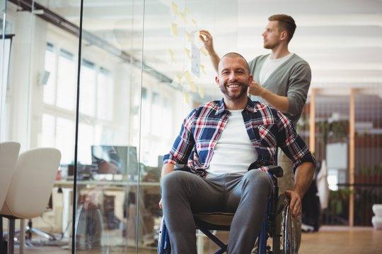 Portrait of handicap businessman in creative office