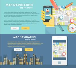 Flat design illustration map navigation app. Concepts web banner