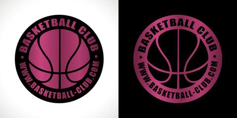 logo club basket sport rose métalique