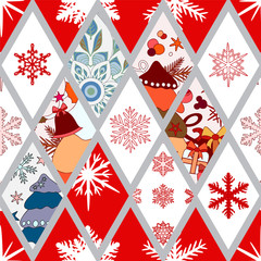 abstract seamless pathcwork tile with christmasl ornament.winter