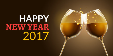 New Year eve 2017. Holiday illustration of two wine glasses. Drink luxury celebration of new year. Vector party alcohol decoration