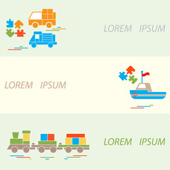 Vector illustration kids toys objects: train, puzzle, designer,