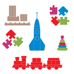 Vector illustration kids toys objects: train, puzzle, rocket, py