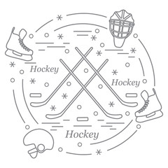 Vector illustration of various subjects for hockey arranged in a