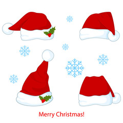 Santa Claus red hat silhouette vector illustration isolated on background. Happy New Year symbol decoration. Merry Christmas clothes holiday elements