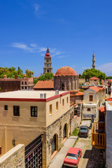 Deurstickers Turkije View of the old town Rhodes on the background of blue sky, Rhodes island, Dodecanese, Greece.