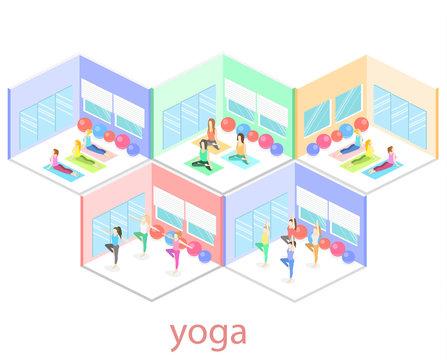 Isometric interior of yoga class. people do yoga.