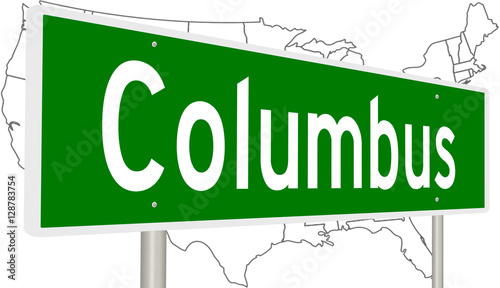 A 3d rendering of a highway sign for Columbus, Ohio with United ...