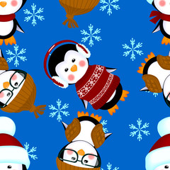 penguins seamless pattern clothes christmas