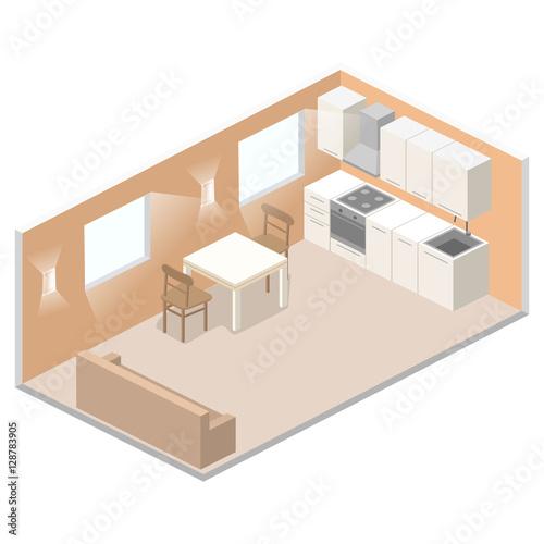Isometric Flat 3d Concept Vector Interior Of Studio