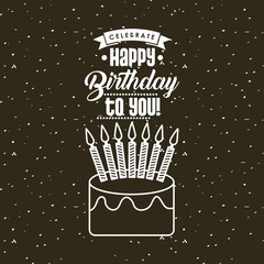 happy birthday card with cake with candles icon. colorful design. vector illustration