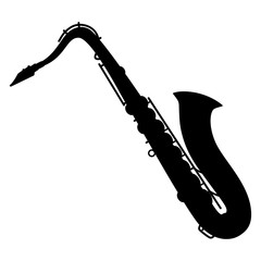An isolated silhouette of a saxophone on a white background. Vector illustration