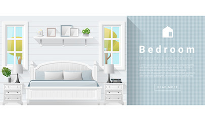 Interior design Modern bedroom background , vector, illustration