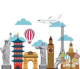 iconics monuments of the world and airplane and balloon icon over white background. colorful design. vector illustration