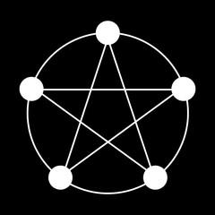 Pentagram of 5 Elements Vector Icon Symbol Design. Vector illustration isolated on black background.