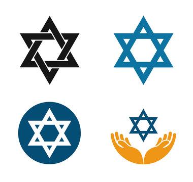 Star of David vector logo. Judaism or Jewish set icons