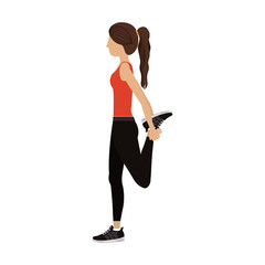 Girl doing exercise icon. Fitness gym sport and bodybuilding theme. Isolated design. Vector illustration