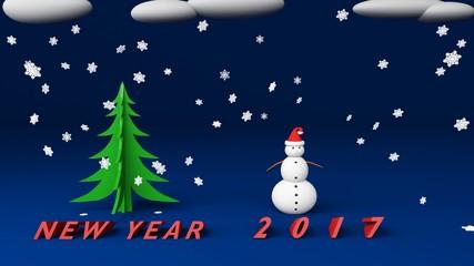 snowman new year 2017