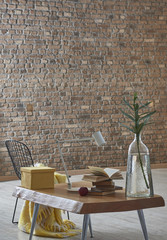 brown table home concept with brick wall