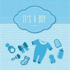 elegante Babykarte als Danksagung mit blau und Punkten