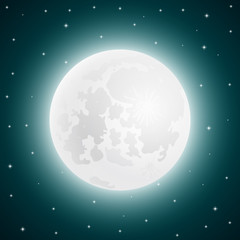 Moon with shining stars, vector sky