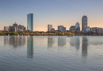 The Boston skyscrapers and the John Hancock Tower from Longfellow Bridge, Boston, New England