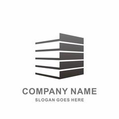 Building Shape Perspective Geometric Strips Negative Space Architecture Real Estate Stock Vector Logo Design Template