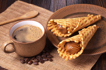 Coffee and waffle cones