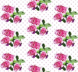 Vintage Spring Summer delicate rose Flowers pattern Vector