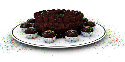 3d Illustration of chocolate birthday cake over white background