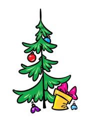 Christmas tree gift parody cartoon illustration isolated image