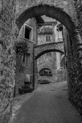 Black And White Image Of italian medieval village of Tenno