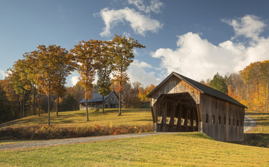 A Typical Cover Bridge of Vermont, Woodstock, New England
