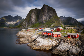 Traditional Norwegian Fisherman's Cabins Rorbuer, on the Island