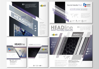 Social media posts set. Business templates. Cover design template, easy editable layouts in popular formats. Chemistry pattern, hexagonal molecule structure. Medicine, science and technology concept.