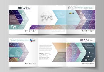 Set of business templates for tri fold square brochures. Leaflet cover, flat style vector layout. Bright color pattern, colorful design with overlapping shapes forming abstract beautiful background.