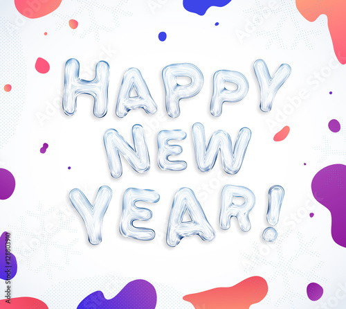 happy new year greeting cards creative frozen ice font lettering and splash colorful paints ink