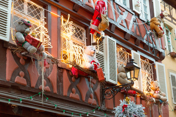 Christmas decoration with teddy bear in Strasbourg, Alsace, France.