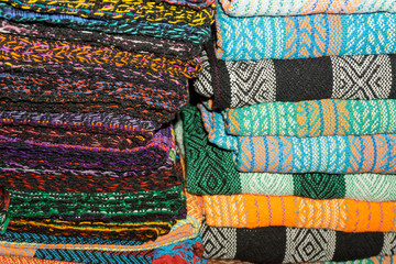 colorful blankets or fabrics on market